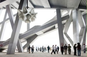 First visitors to the National Stadium in Beijing, designed by Herzog & de Meuron; photograph by Iwan Baan, 2008