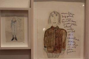 (In jacket) Maira Kalman's self-portrait in an Isaac Mizrahi jacket