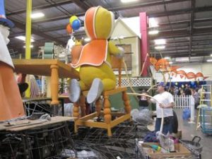 Volunteers at work at Fiesta Parade Floats
