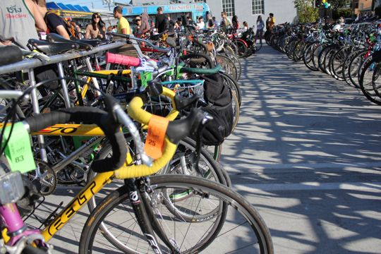 Ample parking was available for bikes, naturally.