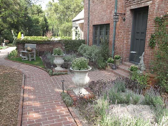 One of the many landscaped areas
