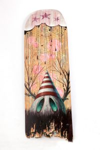 Skateboard painted by Nathan Ota, photo by Kristina Campbell